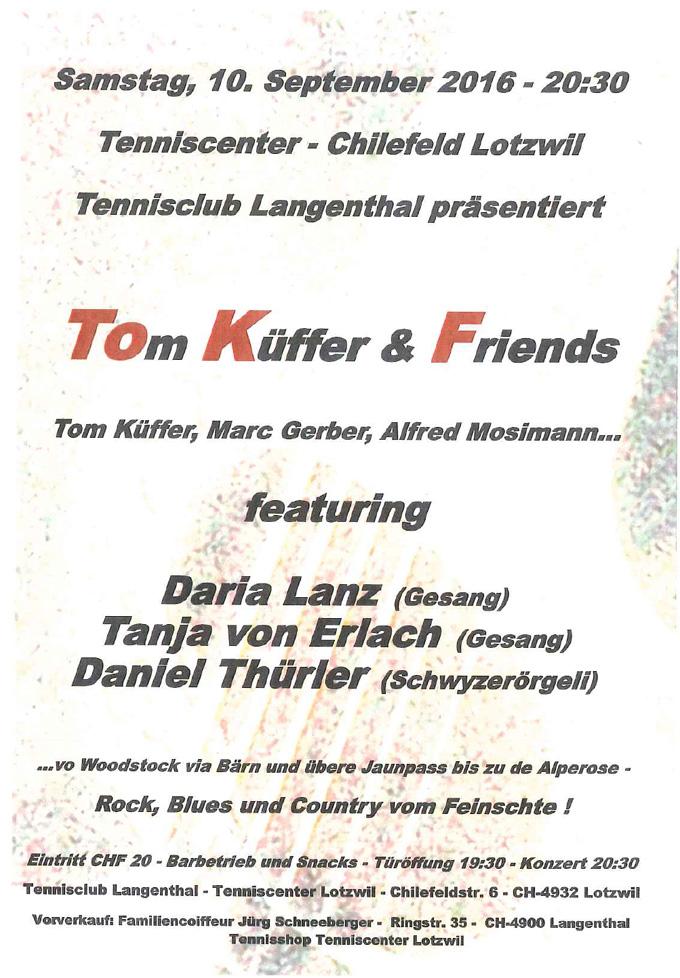 Konzert im Tenniscenter Lotzwil