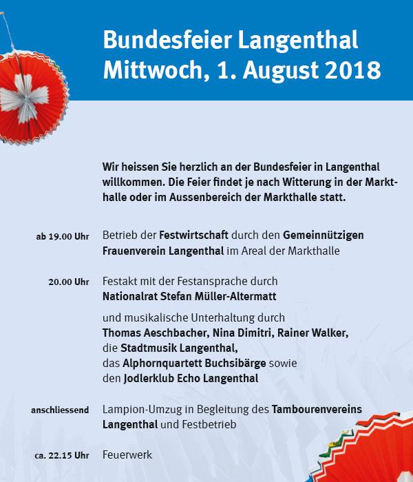 Bundesfeier Langenthal 2018