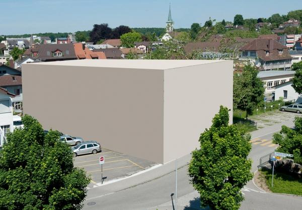 Fotomontage des Neubaus über dem Wasserrad und dem Sagibach <br />Quelle: Christen Foto Langenthal