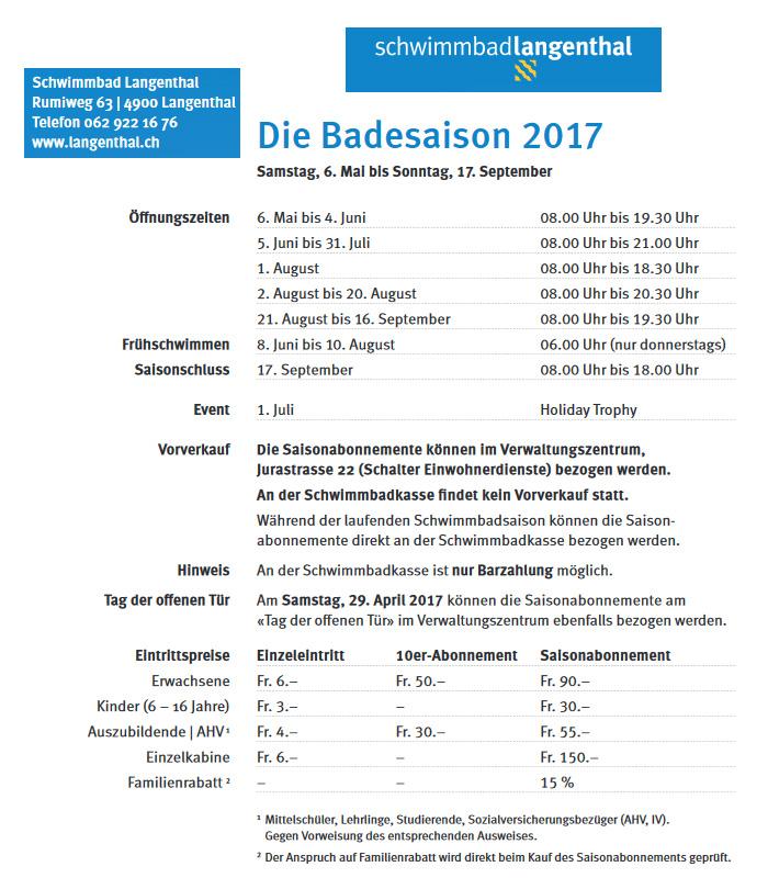 Badesaison 2017 im Schwimmbad Langenthal